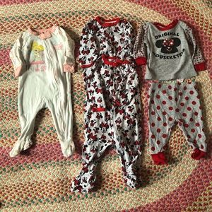 Disney Minnie Mouse and Tink Sleepers 3-6 months